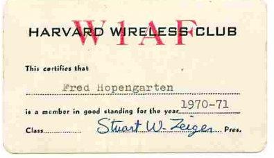 W1AF Harvard Wireless Club ID Card