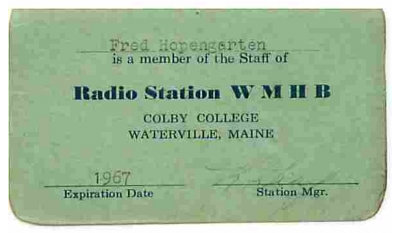 WMHB Radio Station ID Card